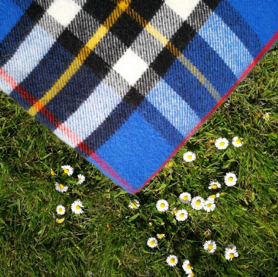 Checked Blue & Black Tartan Wool Blanket / Throw